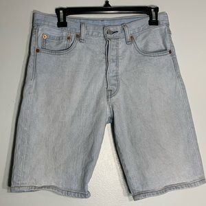 Levi's 501 Light Wash Button Fly Bermuda Shorts